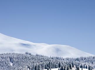 Winterlandschaft vor blauem Himmel