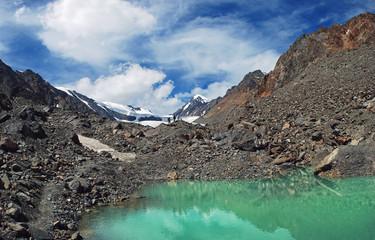 Beautiful Blue Lake at the Aktru mountains in Altai