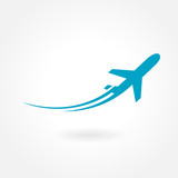 Fototapety airplane flight tickets air fly travel takeoff silhouette elemen