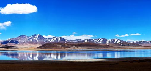 Panorama of Peiku Tso lake, Tibet