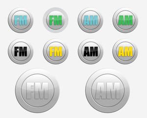 FM radio icon. AM radio icon