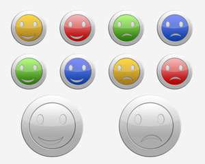 set of colored icons sad and cheerful face