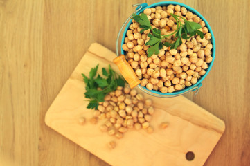 Overhead view of chick peas, Hummus