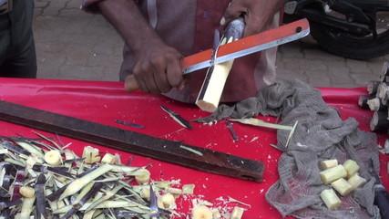 fresh sugarcane pieces in Mumbai market, India