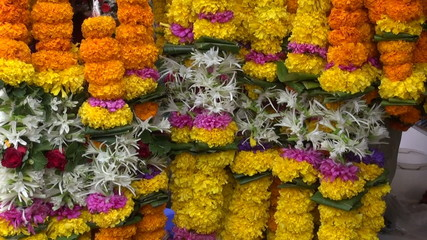 fresh ritual flowers garlands in asia market, Mumbai, India