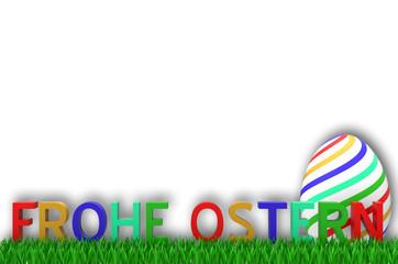 Frohe Ostern Schrift mit Ei