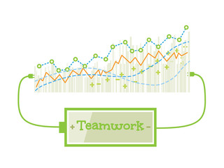 Teamwork word charging battery power with grow up graph