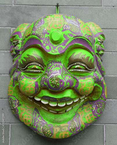Foto op Aluminium Beijing chinese mask on wall on Liulichang street in Beijing