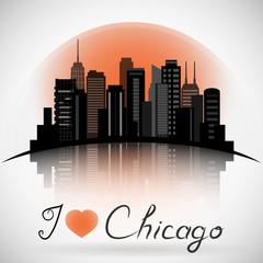 Chicago Illinois city skyline silhouette. Typographic Design
