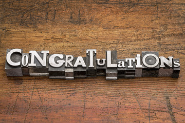 congratulations in metal type