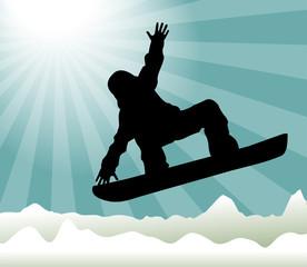 silhouette di snowboarder