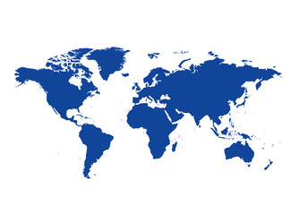dark blue map of the world - vector continents