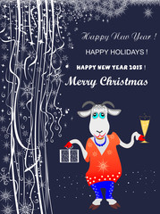 Winter holiday abstract background with a goat