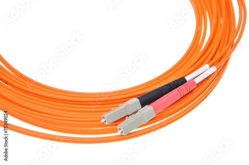 Leinwanddruck Bild Fiber optic cables isolated on white background