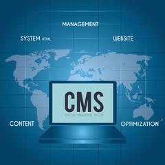 CMS design over blue background vector illustration