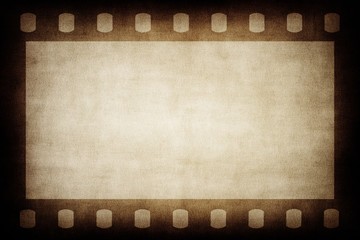 Grunge brown film strip background.