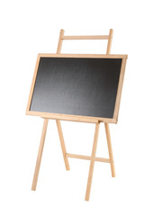 Wooden easel with a black board on white