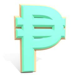 3d philippine peso sign