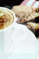 italian creamy espresso with cantuccini biscuits