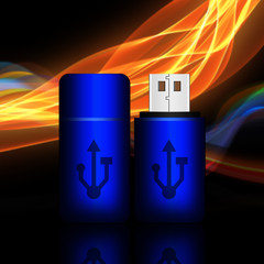 Blue universal flash drive on abstract background,flash drive il