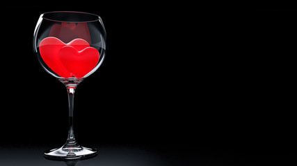 Wine Glass with Red Hearts on Valentine's Day