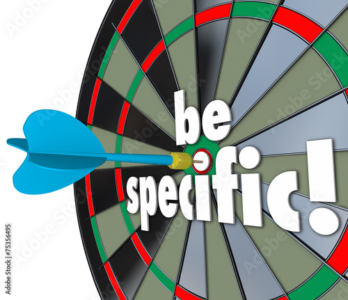 canvas print picture Be Specific Words Dart Board Targeting Details Explicit Directio