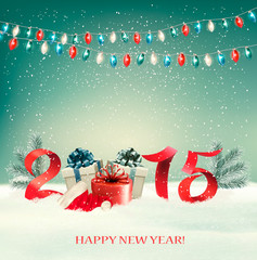 Holiday background with presents and 2015. Vector.