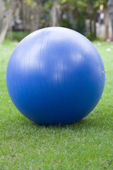 A blue pilates ball in a park