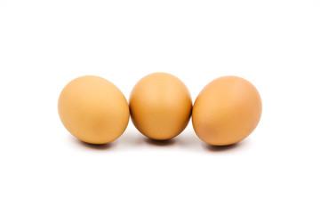 Eggs isolated on white background.