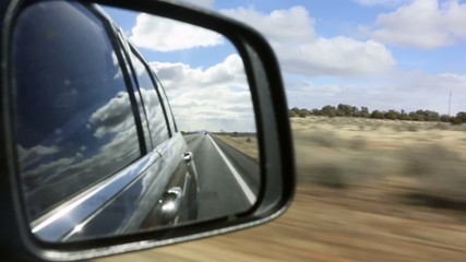 Rear View Mirror, looking back at Arizona Landscape