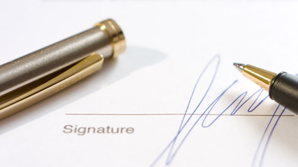 Signed contract document