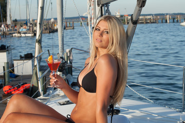 blonde girl on a boat