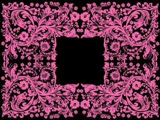 pink flower design on black with frame