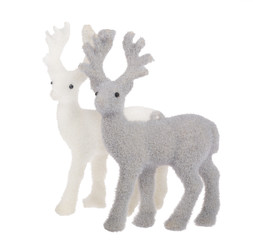 two deer toys isolated on white
