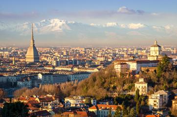 """Turin (Torino)"", panorama with Mole Antonelliana and Alps"
