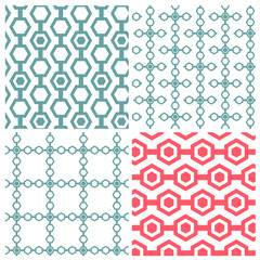 Set of four chain hexagon patterns