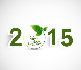 Happy New year 2015 green colorful background vector