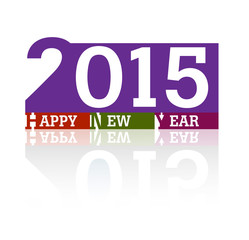 New year 2015 reflection colorful vector design background