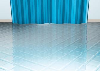 Pavimento blu con tenda