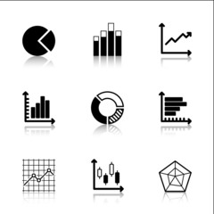 Diagram Icons Set with reflection