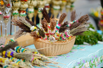 Traditional lithuanian Easter palm bouquets