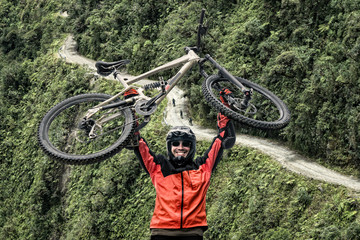 Road of death Bolivia viewpoint mountain biker