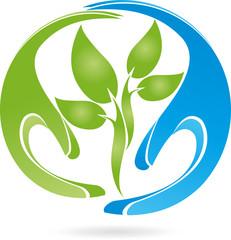 Logo, Pflanze, Blätter, Hände, Heilpraktiker