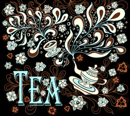 Background with cup, teapot, flowers  in doodle style