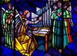 Angels: singing and making music in stained glass - 75363456