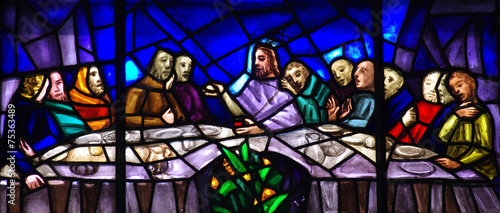 Foto op Canvas Begraafplaats The Last Supper in stained glass