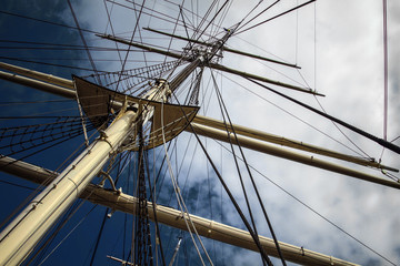 Details of mast on an old ship