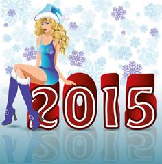 Happy 2015 new year santa girl, vector illustration