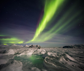Beautiful Northern Lights over the Arctic frozen fjord