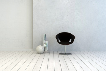 Black Chair and Vases Inside Empty White Room